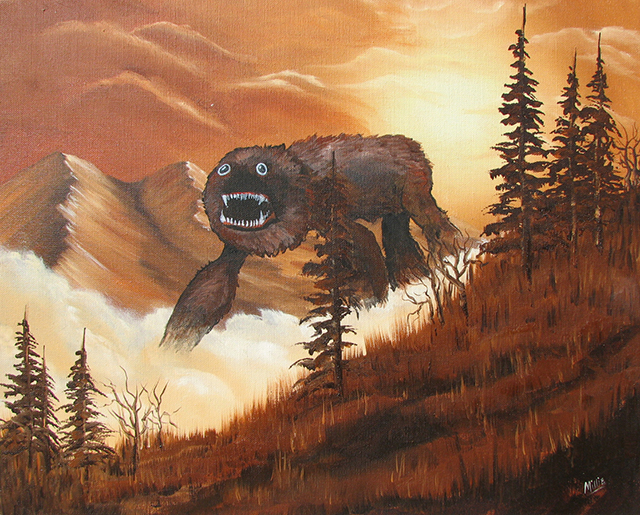 Monsters Added to Dull Yard Sale & Thrift Store Landscape Paintings