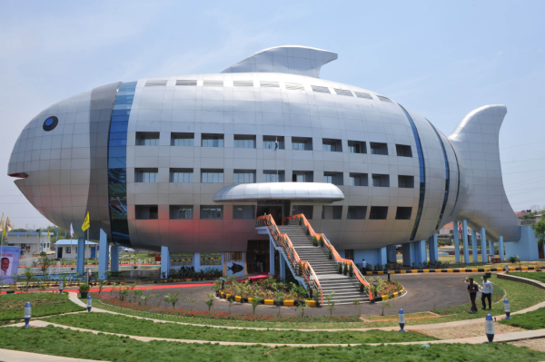 This humorous fish-shaped building is a regional office for the National Fisheries Development Board located near Hyderabad, India.