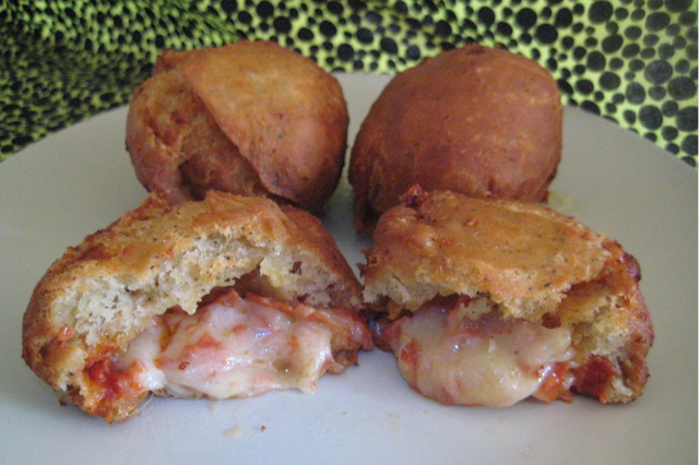 ... Fried Pizza Donuts which are donut-like balls filled with pizza