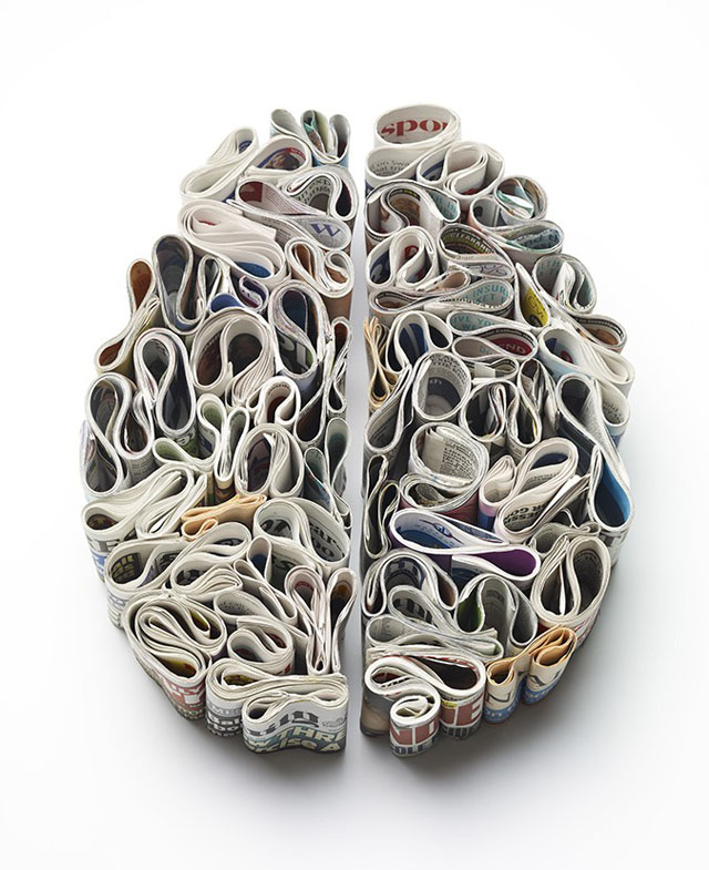 brain art made of toothpaste newspapers and food