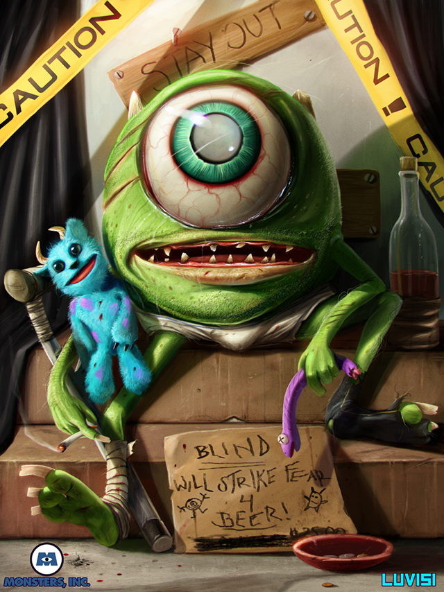 Mike Wazowski of 'Monsters, Inc.' Illustrated as a Blind & Devastated Vagabond by Dan LuVisi