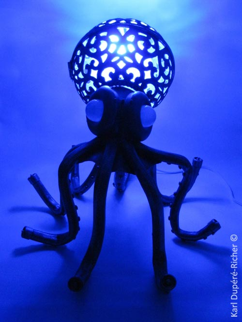 Sculptor Karl Dupere-Richer has created an octopus lamp using recycled ...