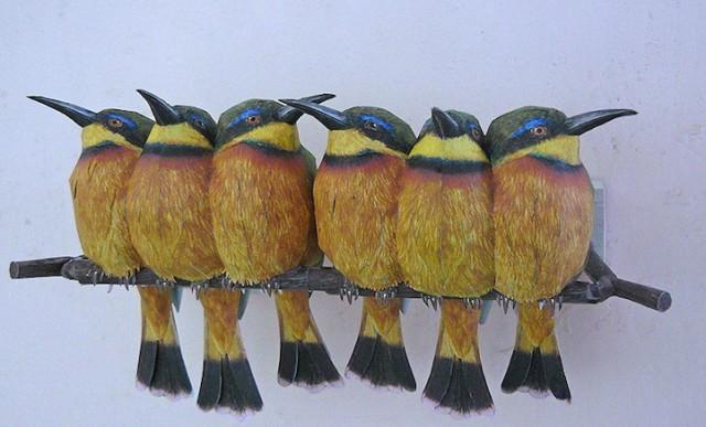 Lifelike papercraft bird models by Johan Scherft