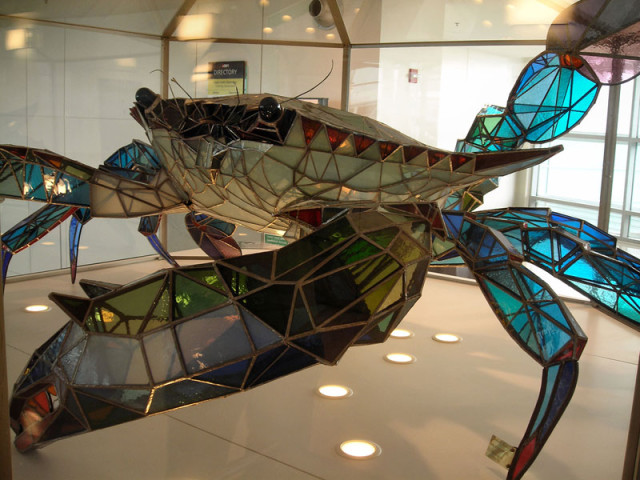 Callinectes Douglassi, Giant Stained Glass Crab Sculpture at