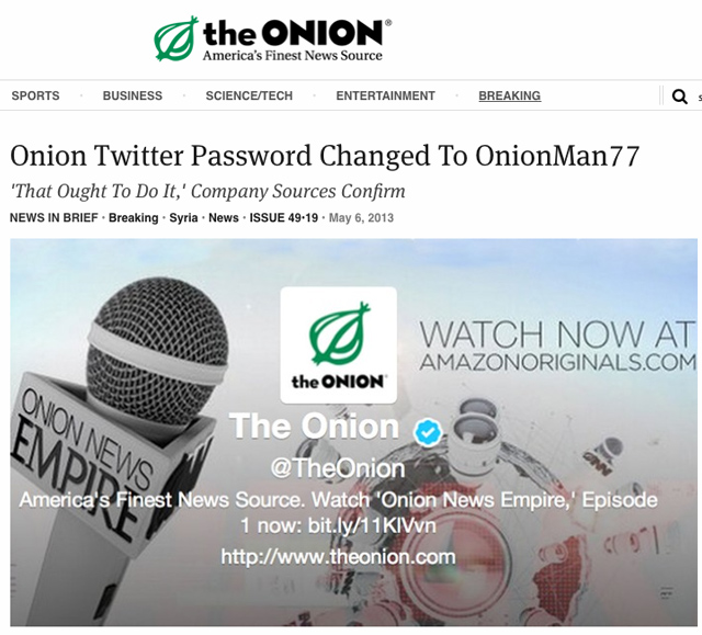 The Onion Twitter Account Hacked