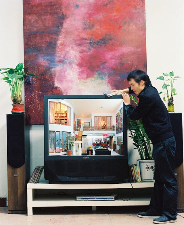 Miniature interiors inside of TVs by Zhang Xiangxi
