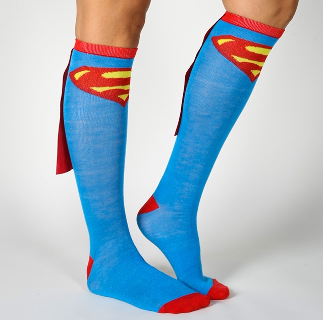 Superman Caped Knee High Socks - Superhero Knee High Socks With Capes