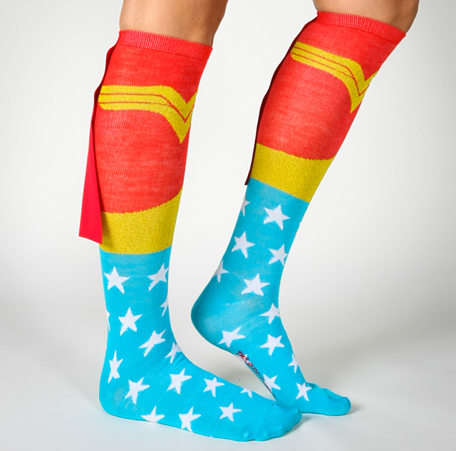 Wonder Woman Caped Knee High Socks - Superhero Knee High Socks With Capes