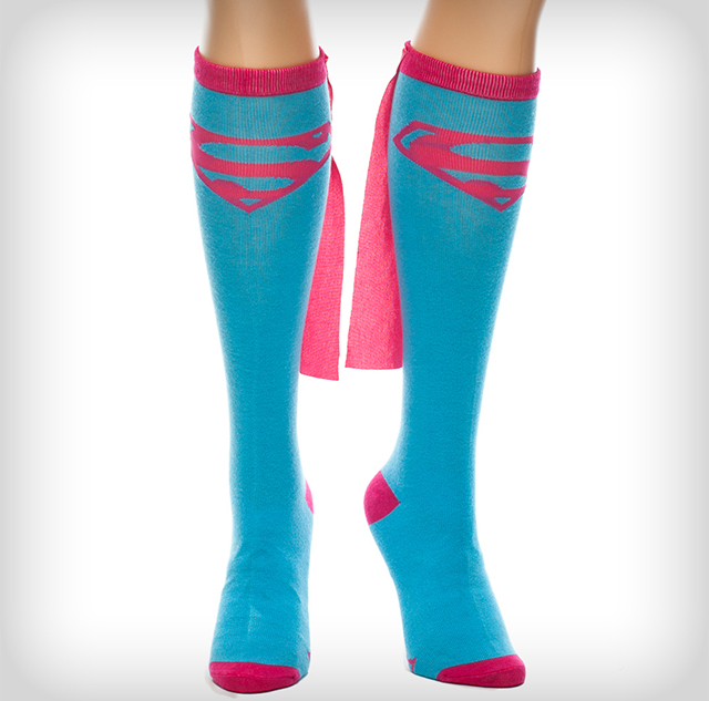Supergirl Caped Knee High Socks - Superhero Knee High Socks With Capes