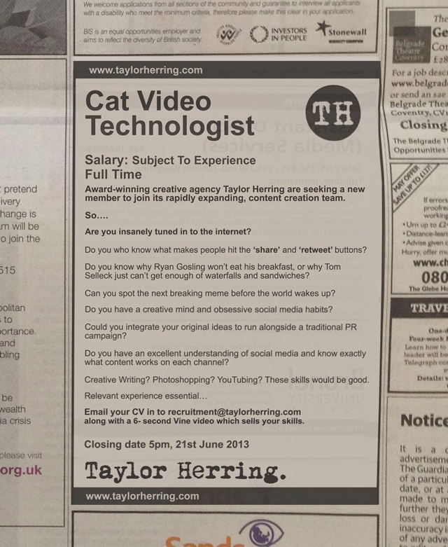 Cat Video Technologist job listing