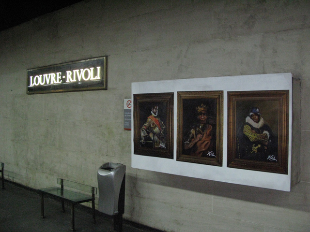 Street Artist Kai Installs Unauthorized Solo Exhibition at the Louvre Museum's Métro Station