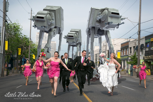 Bridal Party Being Chased Through the Streets by AT-AT Walkers