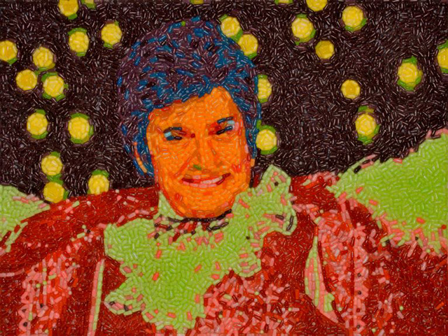 Portrait of Michael Douglas as Liberace Uses Over 4000 Mike & Ikes