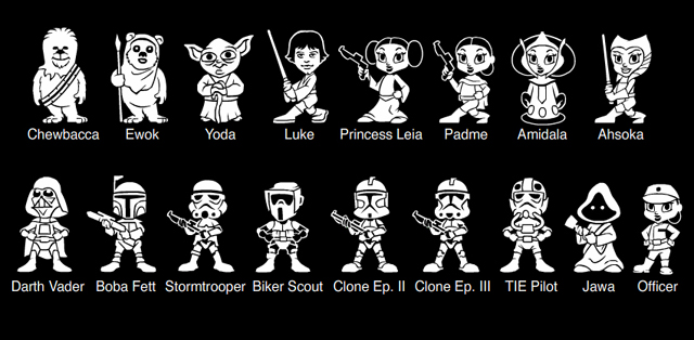 Star Wars Family Member Car Stickers - Star wars family car decals