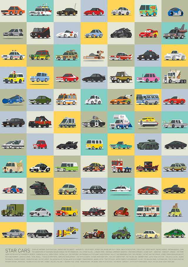 Star Cars, Illustrated Versions of Famous Vehicles From TV & Movies