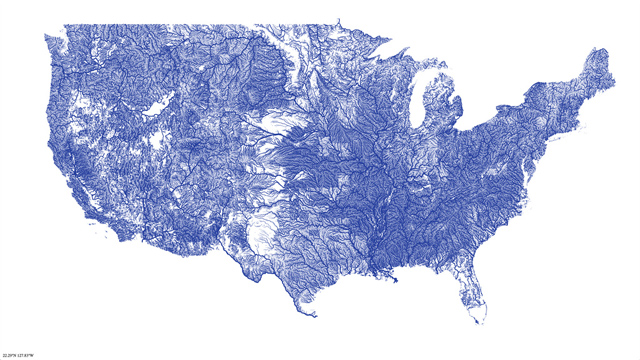 Map of every river in US