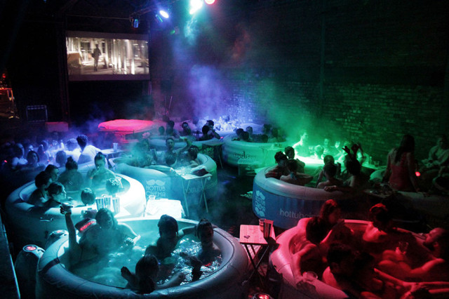 hot tub cinema a pop up movie theater with hot tubs. Black Bedroom Furniture Sets. Home Design Ideas