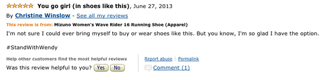 Amazon reviews for Wendy Davis running shoes
