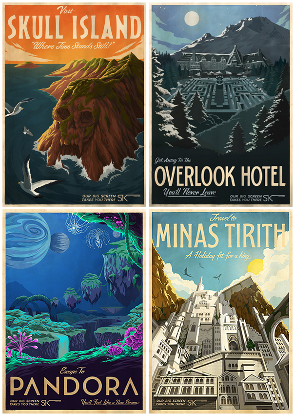 Fictional Movie Locations Depicted as Mid-Century Travel Posters
