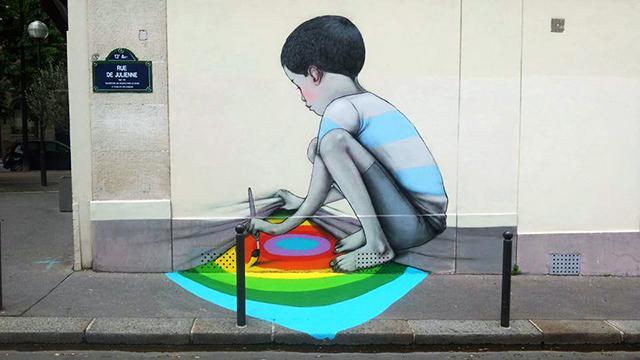 Playful Character Themed Street Art Mural In Paris By Julien Malland