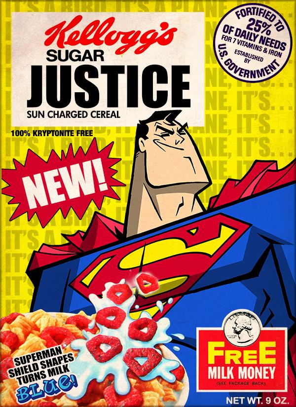 Cereal Box Art Featuring Superman His Villainous Enemies