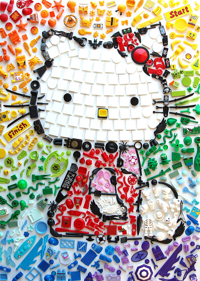 Hello Kitty 'I Spy' Mosaic Created Using Colorful LEGO Accessories