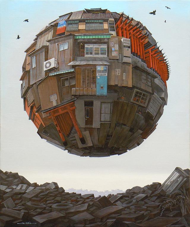 Ramshackle orb paintings by Sashie Masakatsu