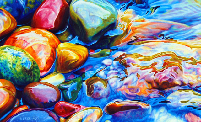 Photorealistic rock illustrations by Ester Roi