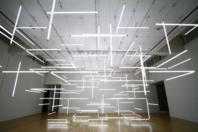Through Hollow Lands Geometric Light Installation Of 200