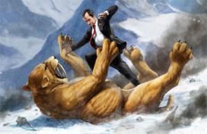 Richard Nixon Battling a Giant Saber-Toothed Tiger