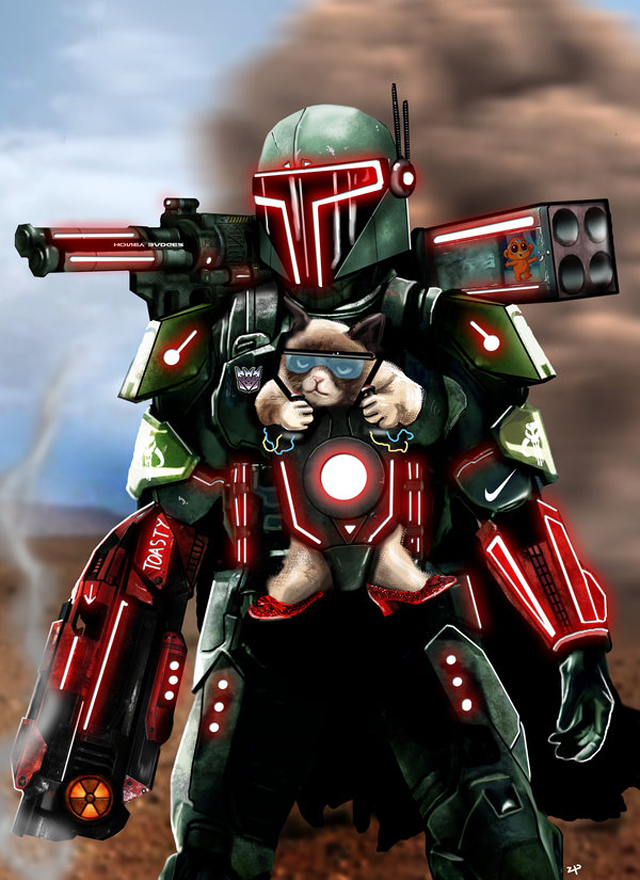 futuristic mashup illustration of boba fett and grumpy cat