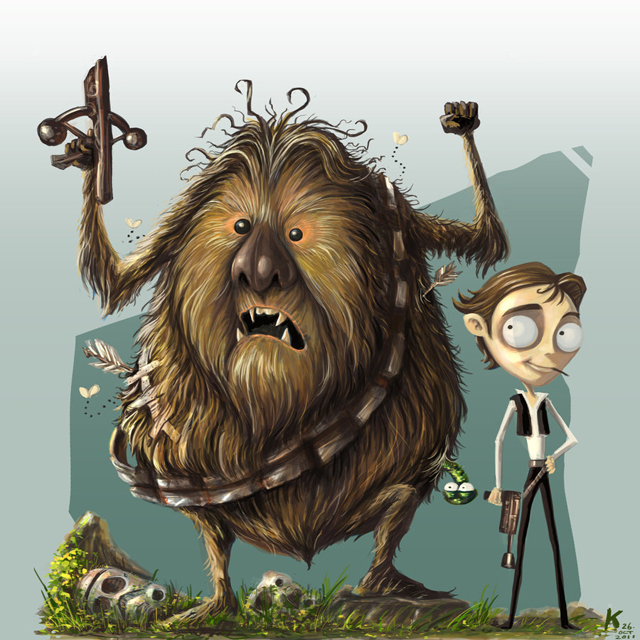 Tim Burton Themed Illustration of Chewbacca and Han Solo