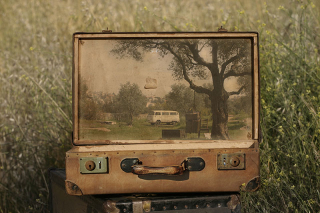 Memory Suitcases, Paintings on Old Luggage