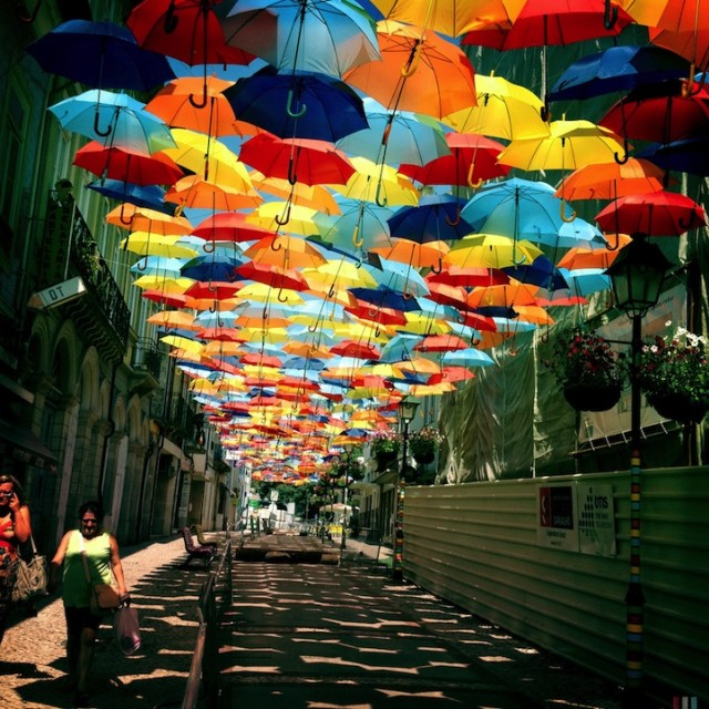 & Colorful Umbrella Canopy Covers Street in Agueda Portugal