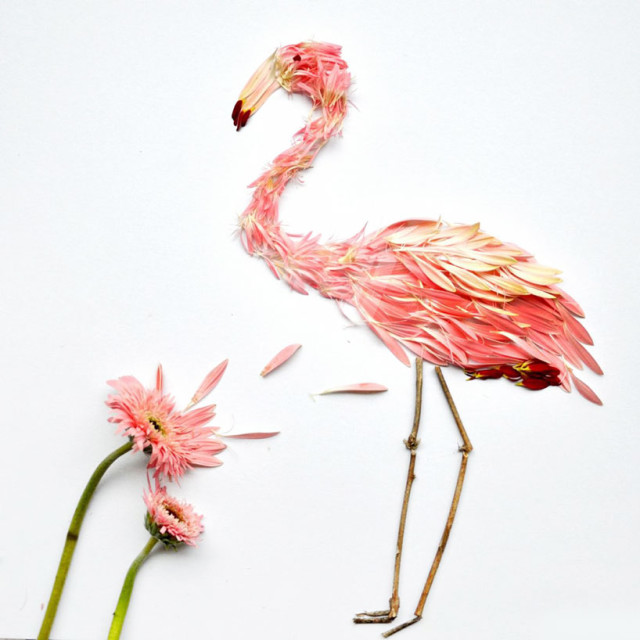 Flower petal bird art by Hong Yi