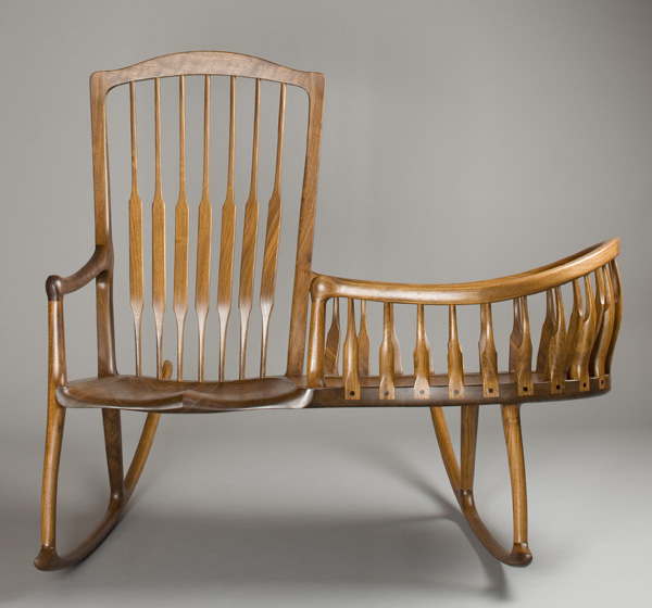 Wood Combo Chair: Rocker Cradle, A Combination Rocking Chair And Cradle