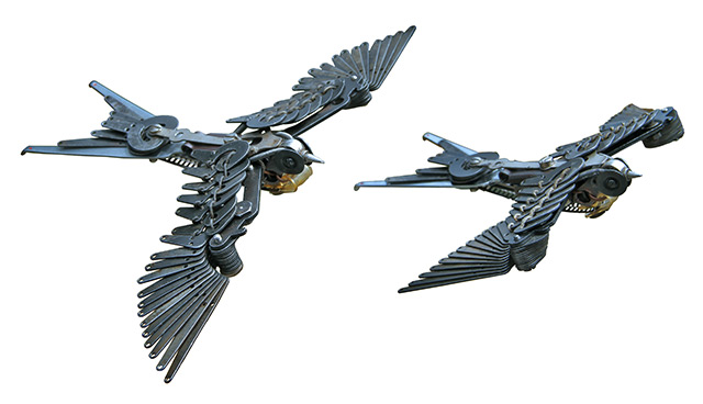 Typewriter parts sculptures of Swallows