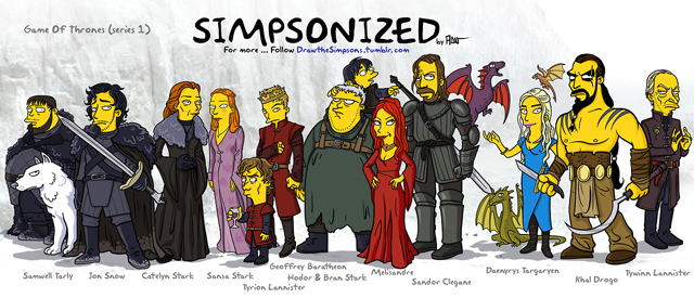 Game of Throne Characters Drawn in the Style of 'The Simpsons'