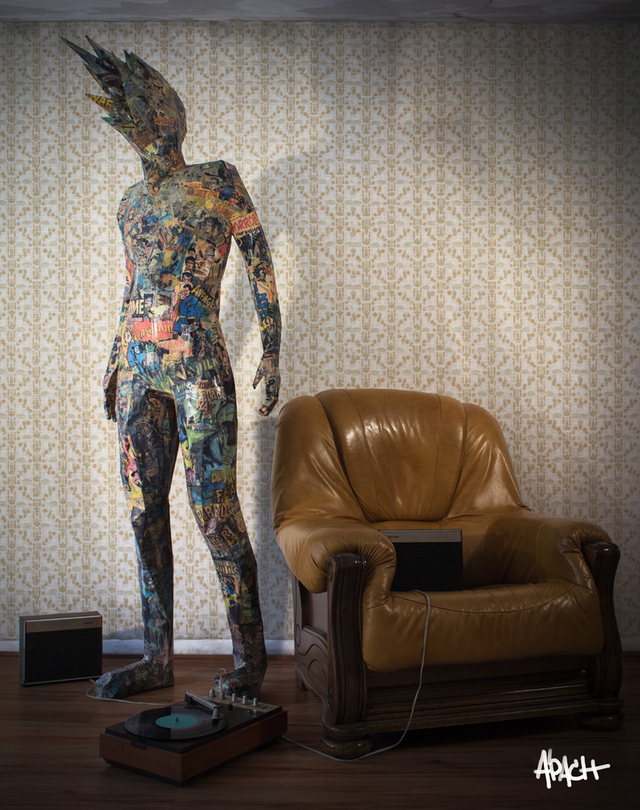 TITAN, A Seven-Foot-Tall Humanoid Paper Sculpture Covered in Comic Book Pages