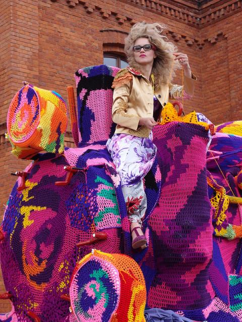Crocheted Locomotive by Olek