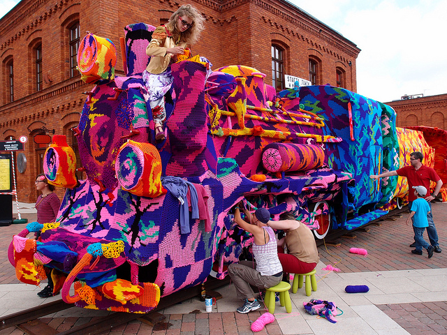 Crocheted Locomotive by Olek