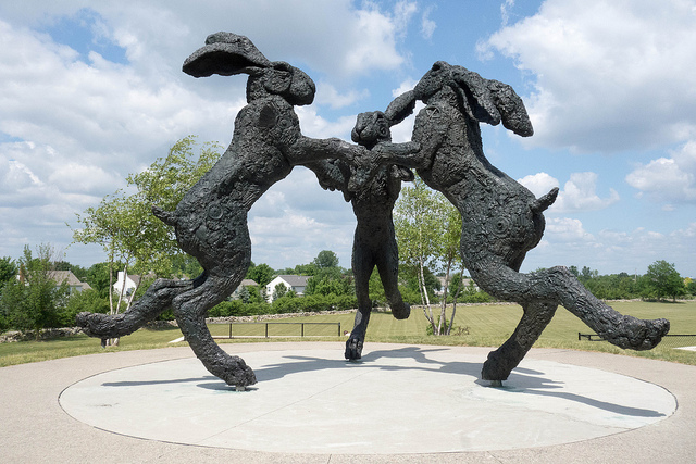 Dancing Hares A Bronze Sculpture Of 3 Giant Rabbits In Dublin Ohio