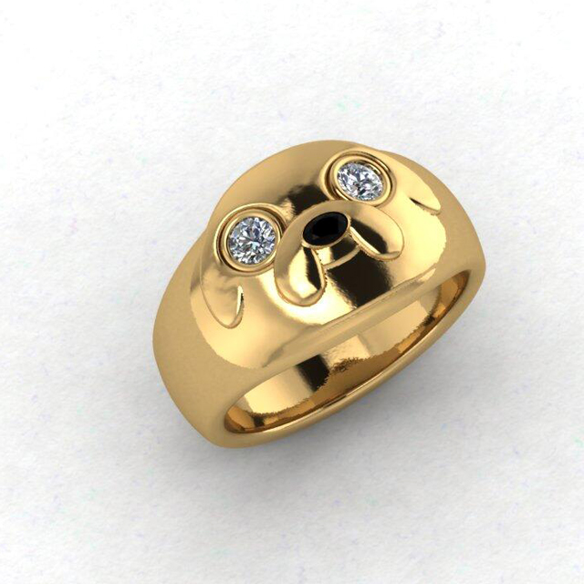 Custom Adventure Time Engagement Ring Designed To Resemble Jake