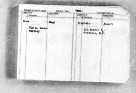 Albert Einstein JDC deposit card