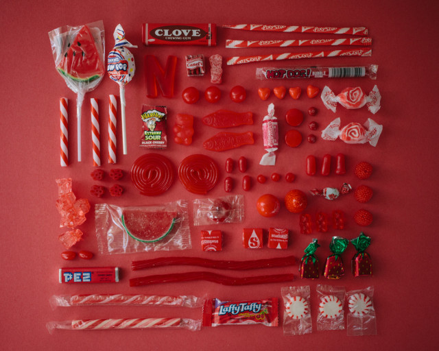 Candies arranged by color by Emily Blincoe