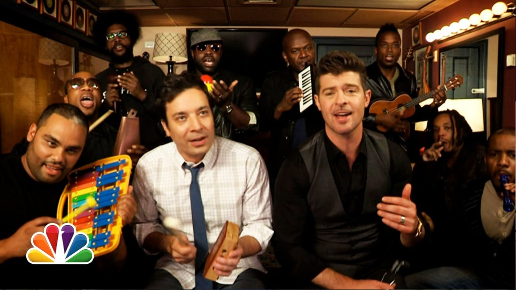 Jimmy Fallon, Robin Thicke, and The Roots Perform 'Blurred Lines' on Classroom Instruments