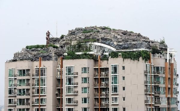 Bizarre rooftop mountain villa in Beijing