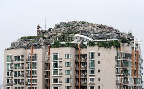 Bizarre rooftop mountain villa in Beijing