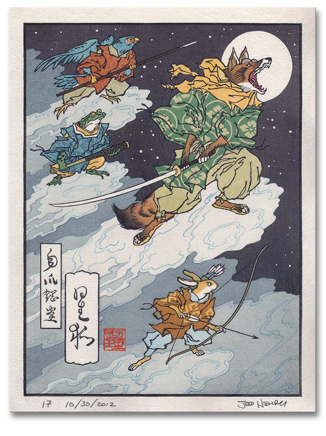 Video game character japanese woodblock prints