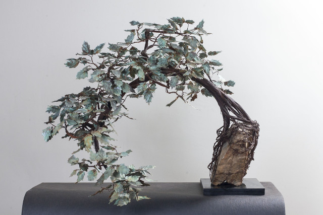 Metal bonsai tree sculptures by Kevin Champeny